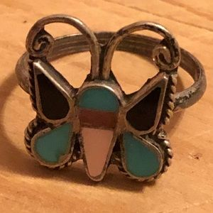 Zuni Sterling Inlay Butterfly Ring Signed 6.5